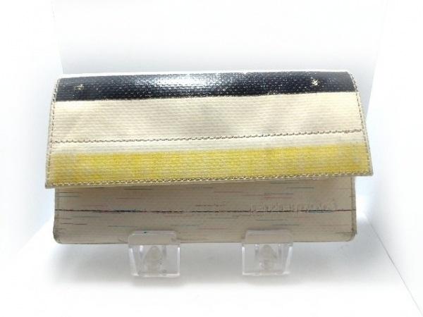 FREITAG(フライターグ) 長財布 アイボリー×黒×イエロー PVC(塩化ビニール)
