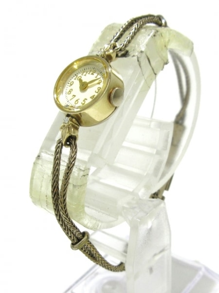 agete(アガット) 腕時計 - レディース CLASSIC/K10/2Pダイヤ/0.02カラット 白