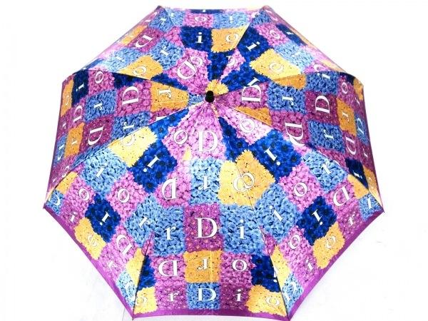 クリスチャンディオール 折りたたみ傘 パープル×イエロー×マルチ 花柄