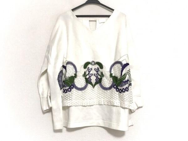 マメ 長袖カットソー サイズ1 S レディース美品  白×パープル×グリーン 花柄/刺繍