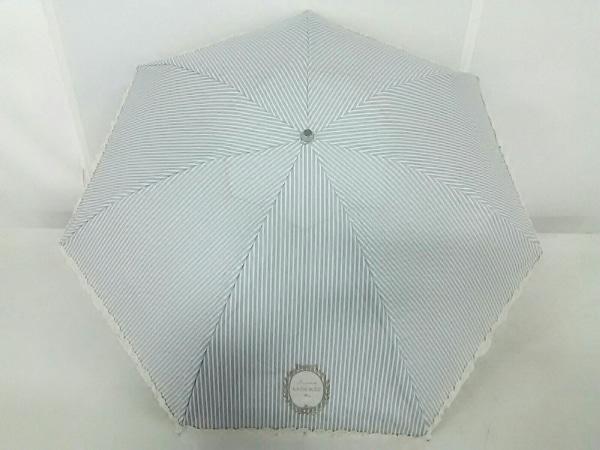ラデュレ 折りたたみ傘 ライトグレー×白×アイボリー フリル/ストライプ 化学繊維