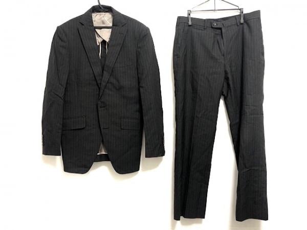 パーソンズ シングルスーツ メンズ ダークグレー×グレー ストライプ/FOR MEN