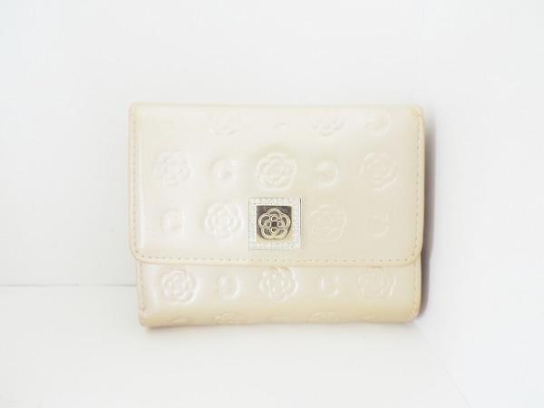 クレイサス 3つ折り財布 ゴールド がま口/ラメ/ラインストーン エナメル(レザー)