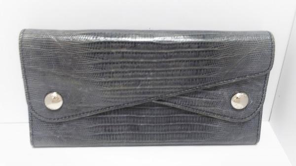 TOD'S(トッズ) 長財布 ネイビー 型押し加工 レザー