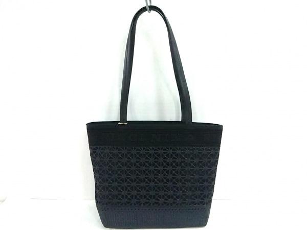 NINARICCI(ニナリッチ) トートバッグ美品  黒 化学繊維×レザー