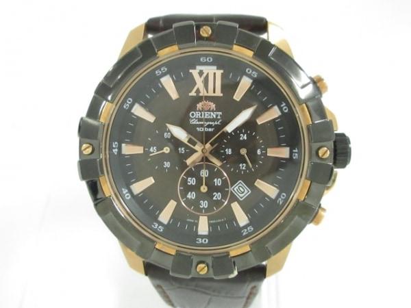 ORIENT(オリエント) 腕時計 TW03-E1-B メンズ 革ベルト/クロノグラフ ダークブラウン