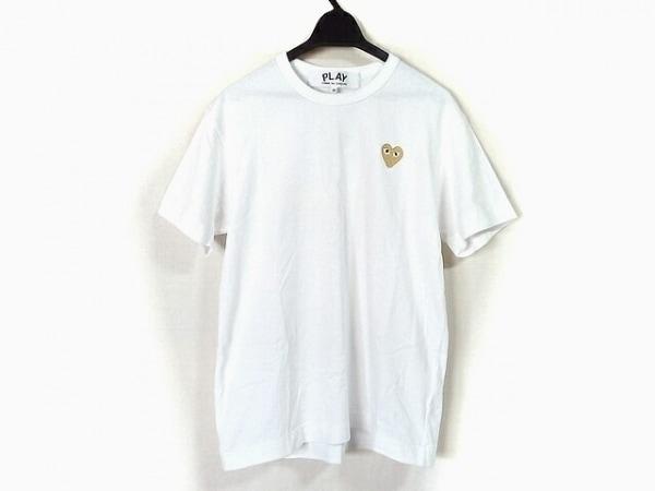 プレイコムデギャルソン 半袖Tシャツ サイズM レディース美品  白×ゴールド×黒