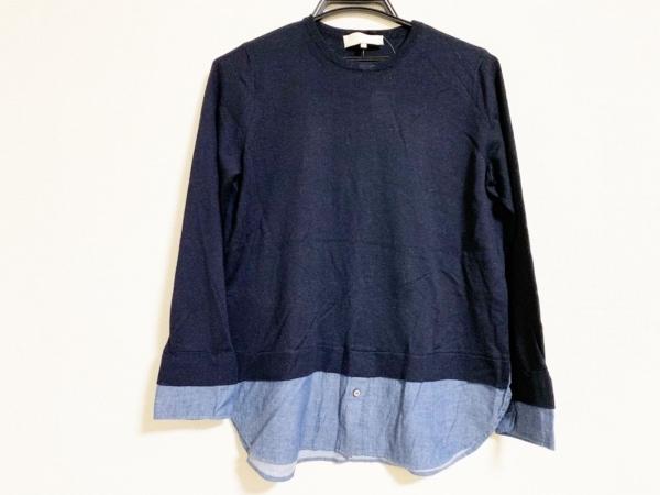 ジユウク 長袖セーター サイズ38 M レディース美品  黒×ブルー 重ね着風