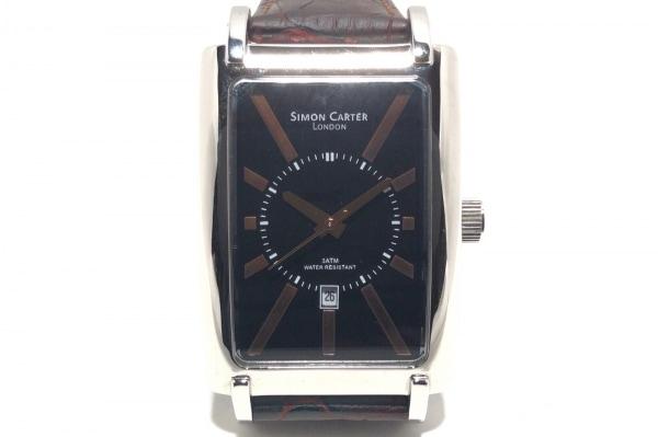 SIMON CARTER(サイモンカーター) 腕時計美品  WT1508B メンズ 革ベルト/型押し加工 黒