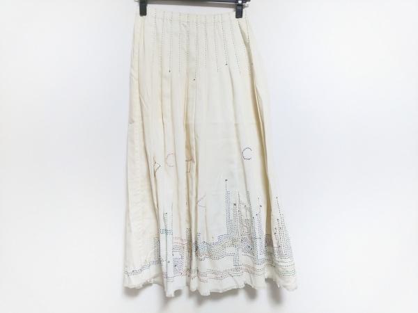 ECOMACO(エコマコ) ロングスカート サイズM レディース アイボリー×マルチ 刺繍