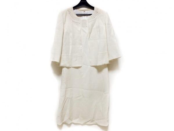 HANAE MORI(ハナエモリ) ワンピーススーツ サイズ38 M レディース アイボリー ビーズ
