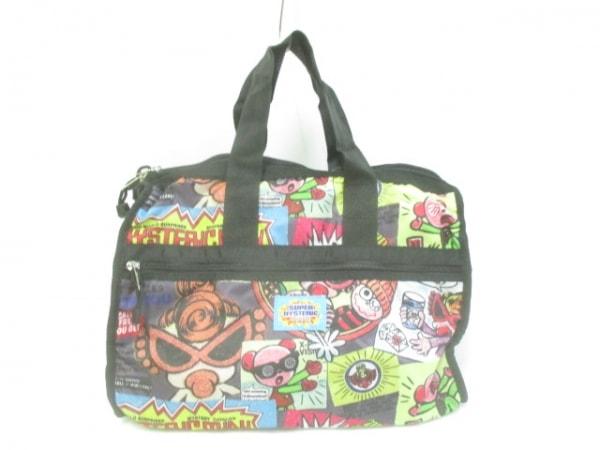 SUPER HYSTERIC(スーパーヒステリック) ハンドバッグ美品  黒×マルチ ナイロン