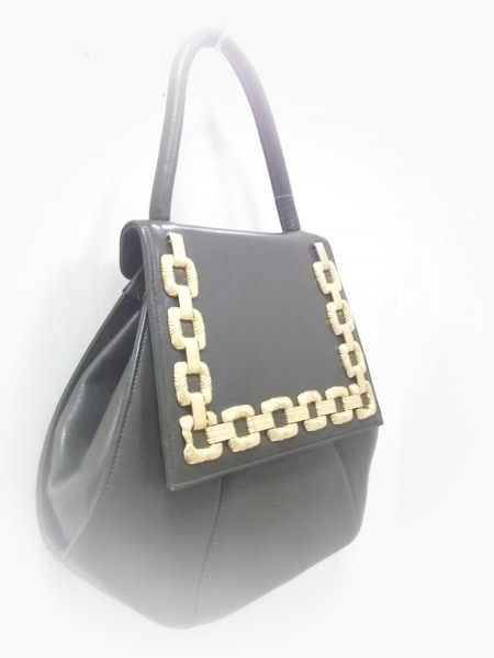 braccialini(ブラッチャリーニ) ハンドバッグ美品  カーキ×ゴールド レザー