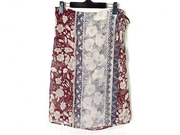 エトロ 巻きスカート サイズ46 L レディース美品  ボルドー×ベージュ×ダークグレー