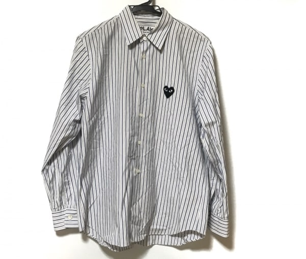 プレイコムデギャルソン 長袖シャツ サイズS メンズ美品  白×ブルー×ダークブラウン