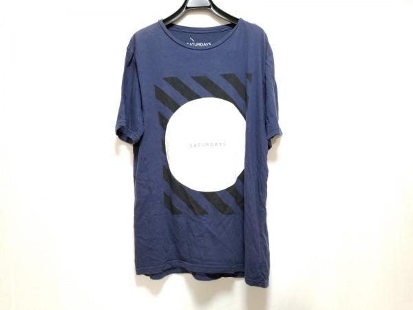 サタデーズ サーフ ニューヨーク 半袖Tシャツ サイズM メンズ ダークネイビー×黒×白