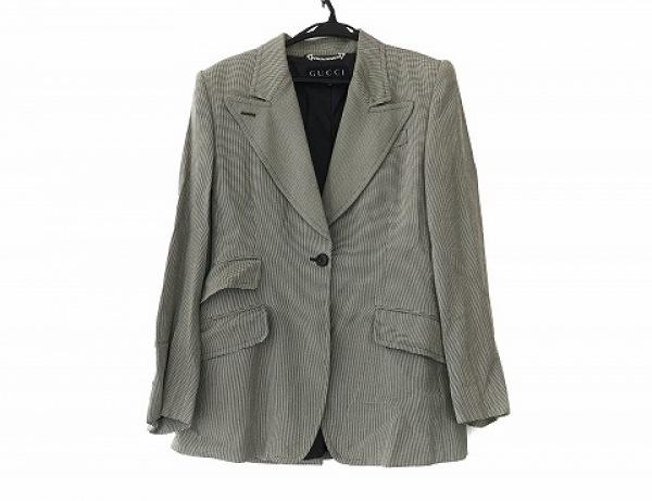 GUCCI(グッチ) ジャケット サイズ44 L レディース ライトグレー×黒 肩パッド
