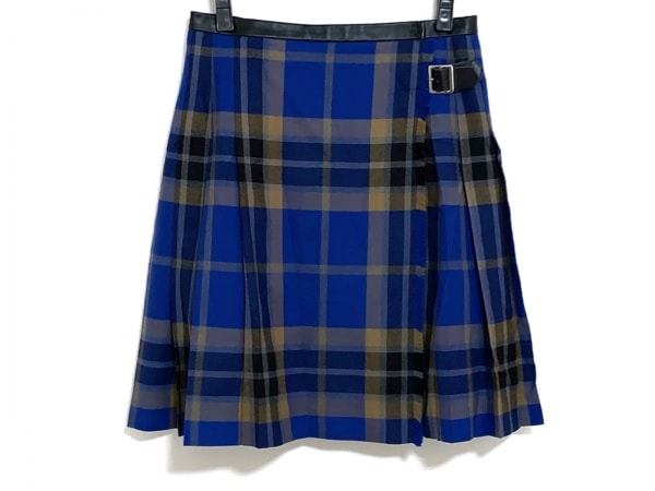 MACPHEE(マカフィ) 巻きスカート サイズ36 S レディース ブルー×ベージュ×マルチ