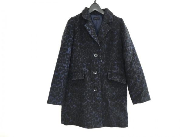 アパートバイローリーズ コート サイズM レディース 黒×ネイビー 冬物/豹柄