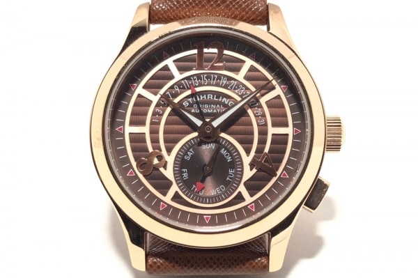 STUHRLING ORIGINAL(ストゥーリングオリジナル) 腕時計 メンズ 裏スケ ダークブラウン