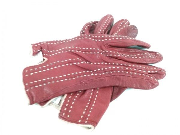 セルモネータグローブス 手袋 7 1/2 レディース美品  レッド レザー