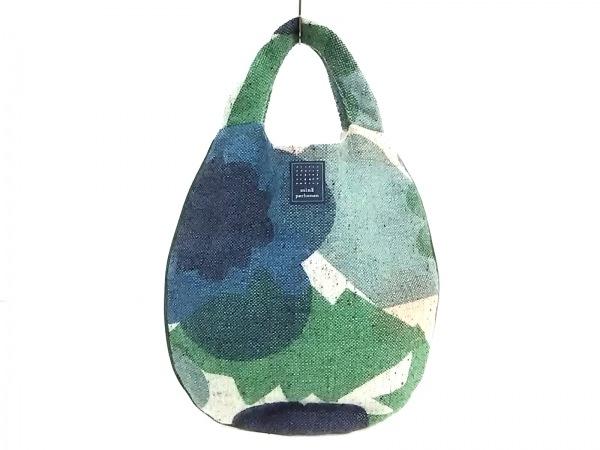 ミナペルホネン ハンドバッグ美品  グリーン×ブルー×マルチ ウール×麻