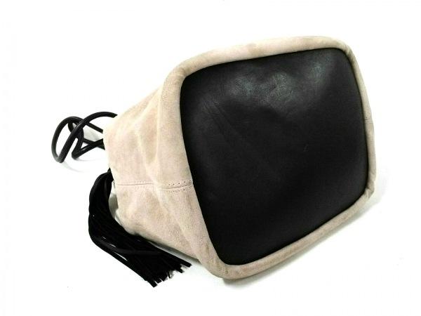 チンクアンタ ショルダーバッグ ベージュ×黒 巾着型/タッセル スエード×レザー
