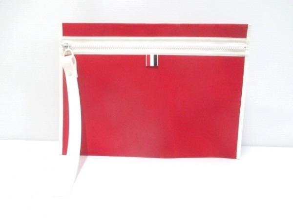トムブラウン クラッチバッグ レッド×白 化学繊維×エナメル(レザー)×ラバー