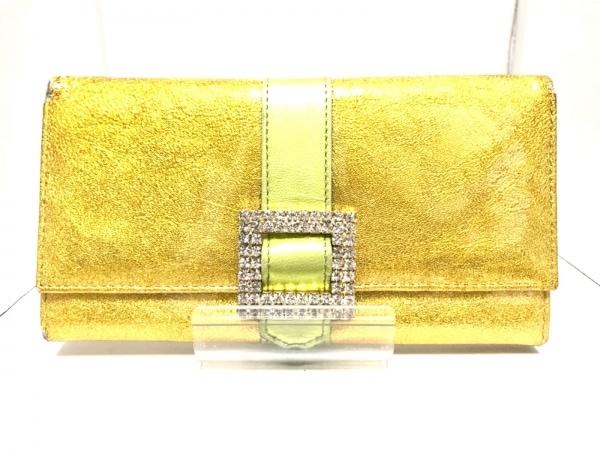 ASH&DIAMONDS(アッシュ&ダイヤモンド) 長財布 ゴールド×ライトグリーン がま口