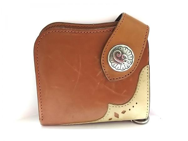 Indian(インディアン) 2つ折り財布 ブラウン×ベージュ レザー×スエード