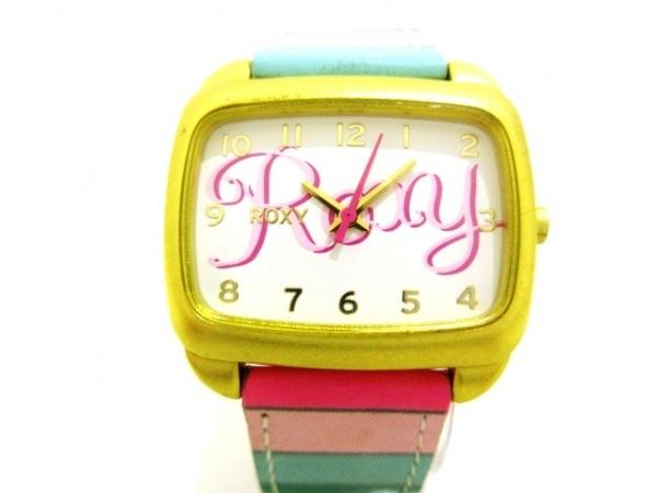 Roxy(ロキシー) 腕時計美品  W117BL レディース 革ベルト 白×ピンク