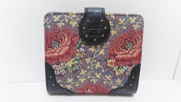 アナスイ 2つ折り財布 レッド×黒×マルチ がま口/フラワー ジャガード×レザー