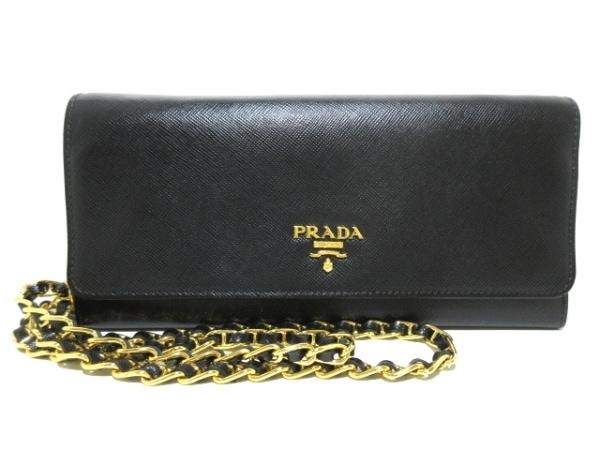e5cc2e008fa4 PRADA(プラダ) 財布 - 1M1290 黒 チェーンウォレット サフィアーノメタル ...