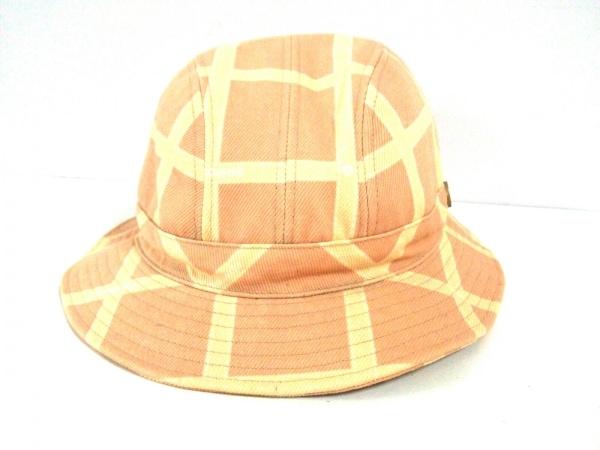 inhabitant(インハビタント) 帽子 58 ライトブラウン×ベージュ チェック柄 コットン