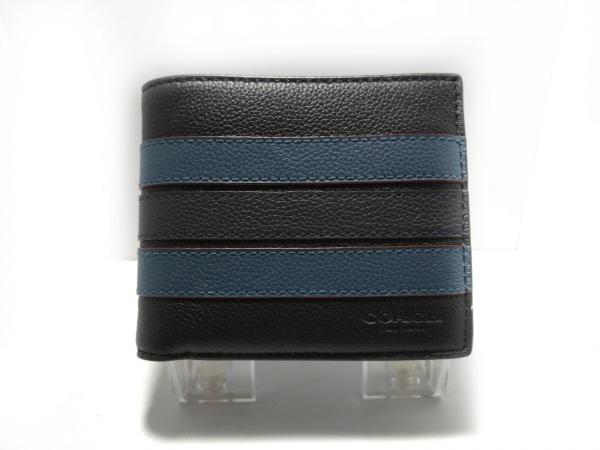 COACH(コーチ) 札入れ美品  - 黒×ブルー パスケース付き レザー