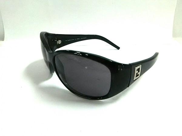 フェンディ サングラス FS421 黒×ダークブラウン×シルバー プラスチック×金属素材