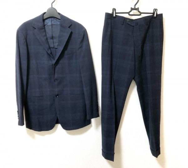 リングジャケット シングルスーツ サイズ48 XL メンズ美品  ネイビー チェック柄