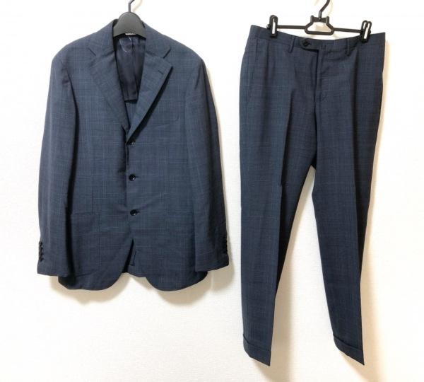 リングジャケット シングルスーツ サイズ46 XL メンズ美品  ネイビー×黒