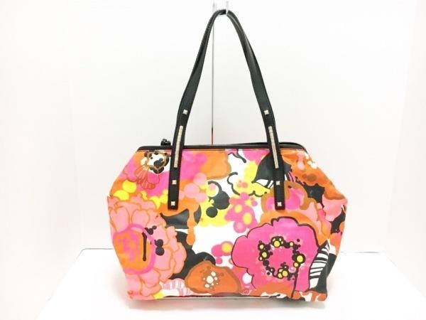 ジミーチュウ ショルダーバッグ - オレンジ×ピンク×マルチ 花柄 キャンバス×レザー