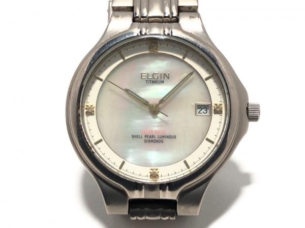 ELGIN(エルジン) 腕時計美品  FK-1066 ボーイズ シェル文字盤/チタン/4Pダイヤ 白