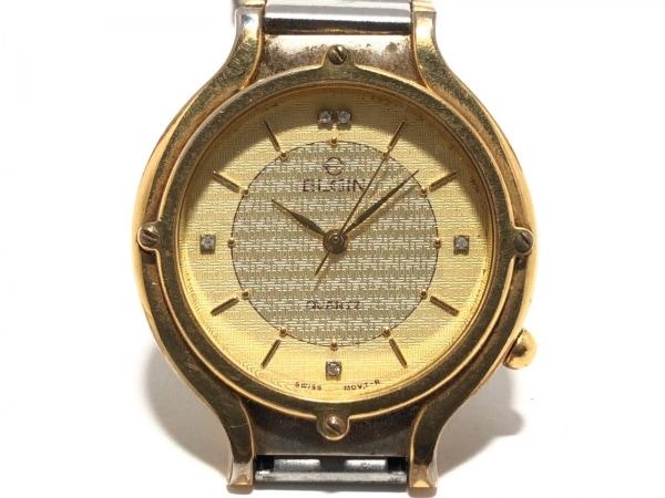 ELGIN(エルジン) 腕時計美品  FK-319 レディース 5Pストーン イエロー