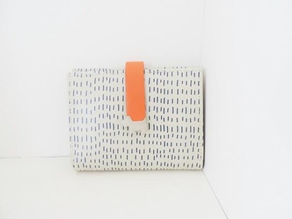 RADLEY(ラドリー) 2つ折り財布美品  ベージュ×ダークネイビー×オレンジ レザー