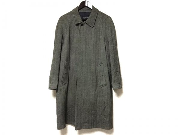 バーバリーズ コート サイズ90 165 メンズ 黒×アイボリー 冬物/ネーム刺繍