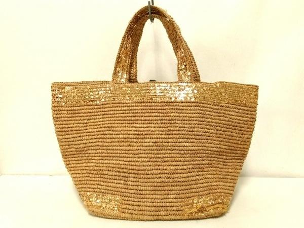 Sans-Arcidet(サンアルシデ) トートバッグ ライトブラウン×ゴールド かごバッグ