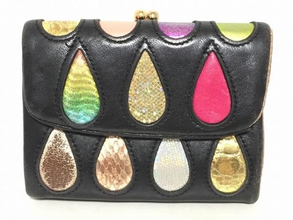 ツモリチサトキャリー 3つ折り財布 黒×ゴールド×マルチ がま口 レザー×化学繊維