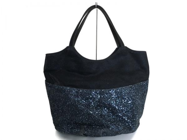 L'AURA(ラウラ.) トートバッグ美品  黒×ブルー ラメ 化学繊維