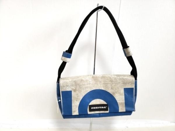 FREITAG(フライターグ) ハンドバッグ 白×ブルー×黒 PVC(塩化ビニール)