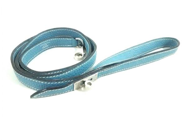 HERMES(エルメス) 小物 ライトブルー ペット用リード/シルバー金具 レザー×金属素材