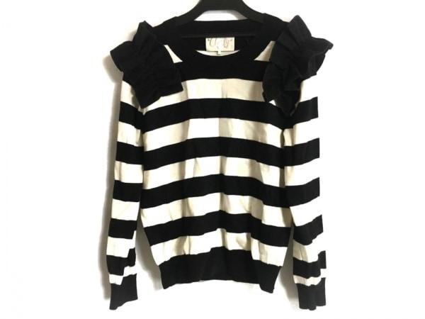 チェスティ 長袖セーター サイズF レディース美品  アイボリー×黒 フリル/ボーダー