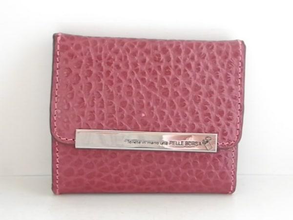 PELLE BORSA(ペレボルサ) Wホック財布美品  ボルドー 型押し加工 レザー